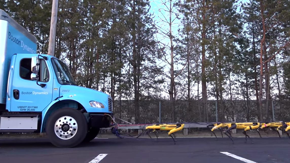 Need a lift? Boston Dynamics' SpotMini robots gang up to tow a truck