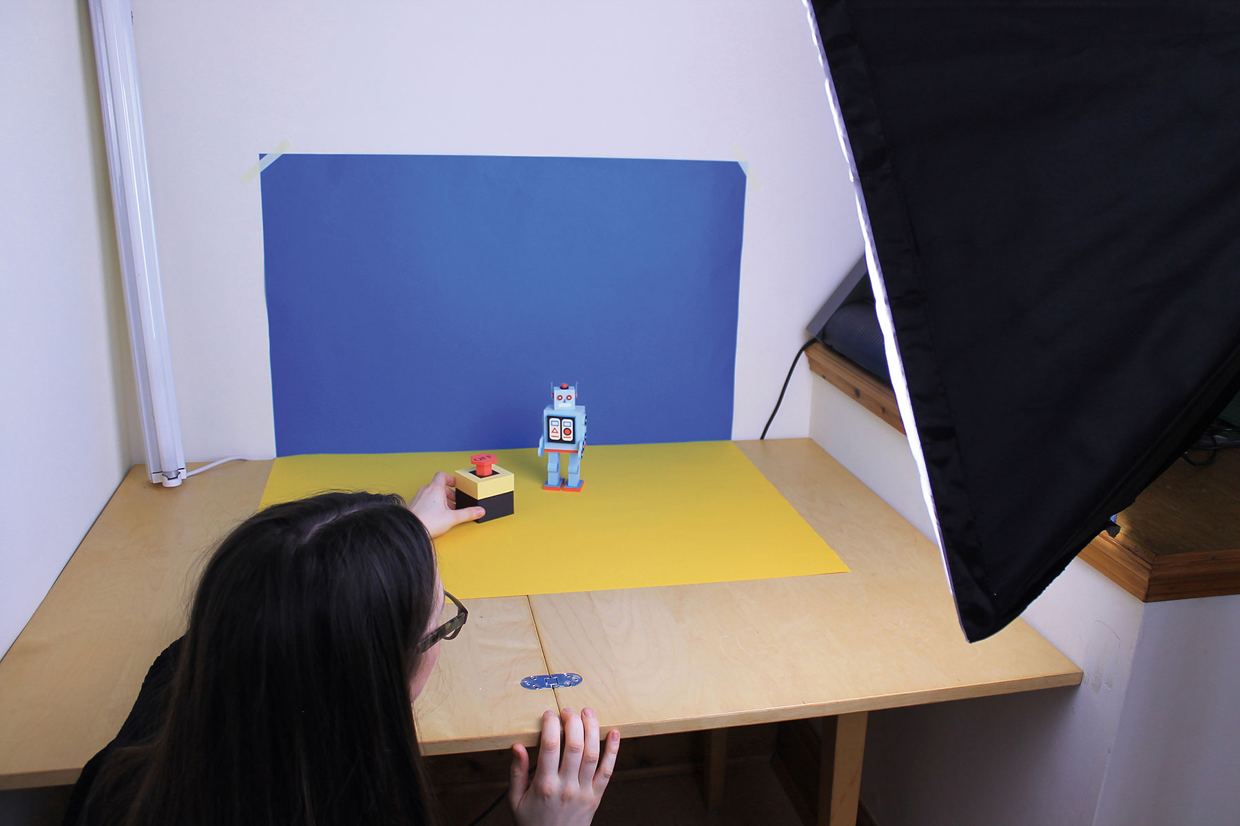 Robot model being photographed