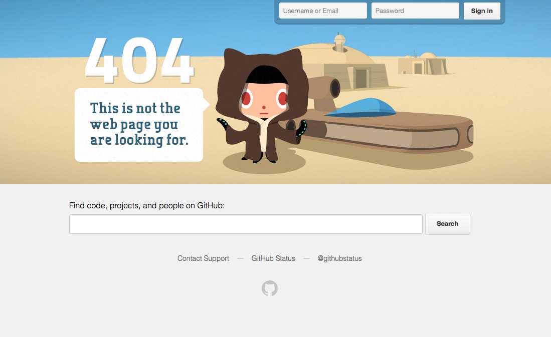 Parallax scrolling: screenshot of GitHub's 404 page shows a cartoon Jedi-type character saying 'This is not the web page you were looking for'