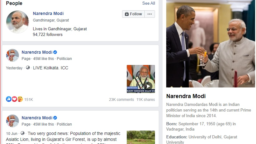 Screenshot of a search on Narendra Modi with Wiki link at the right