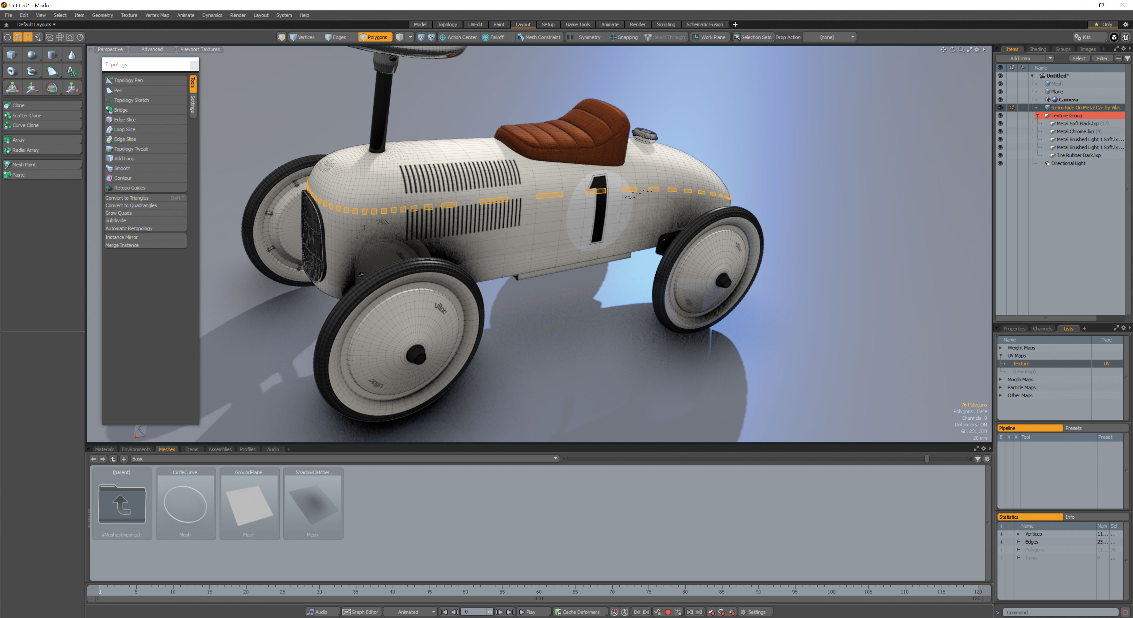 A model car being made in Modo 12