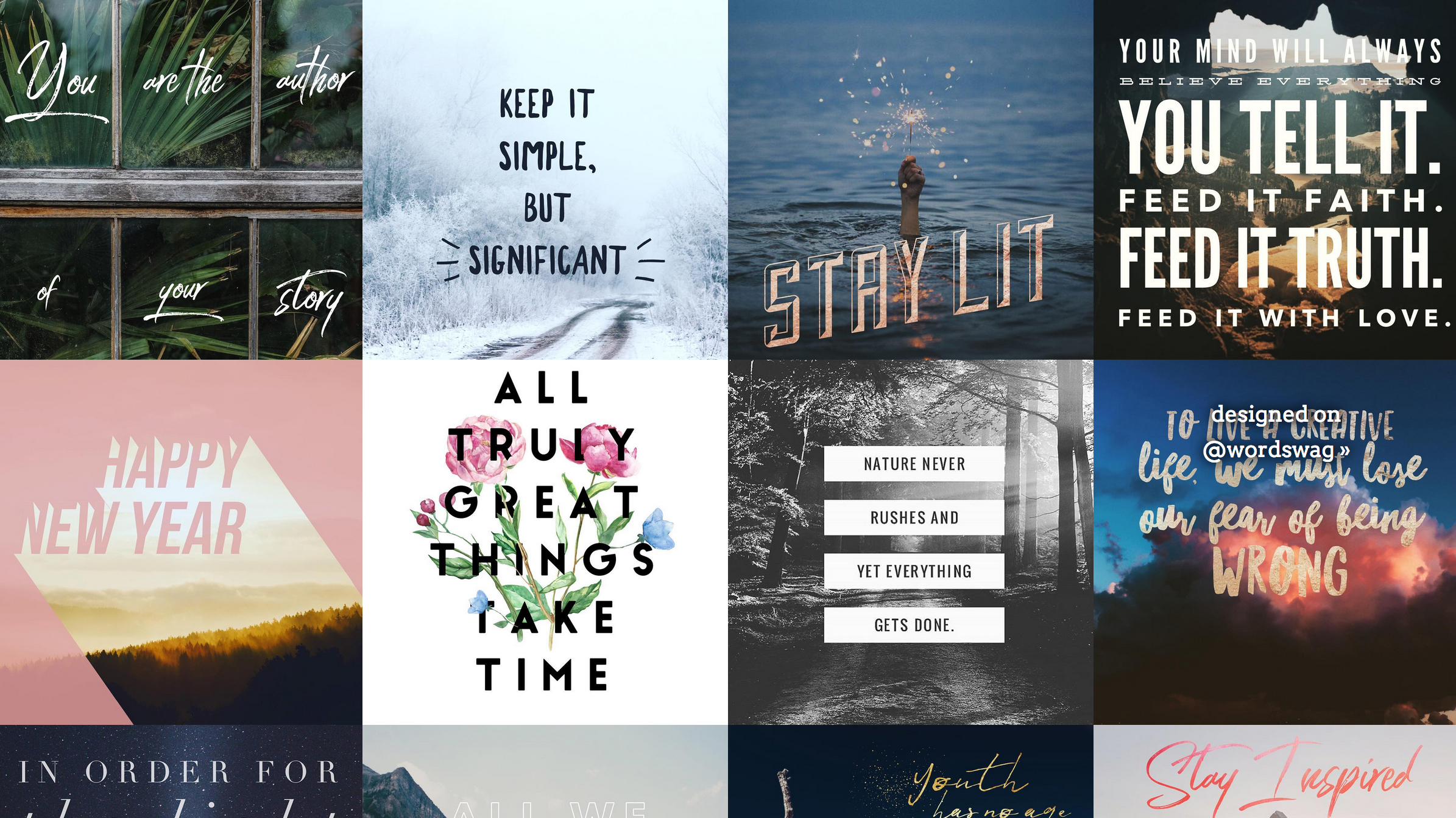Examples of social graphics created with Word Swag