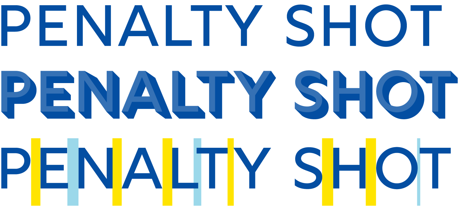 'penalty shot' written with different spacing