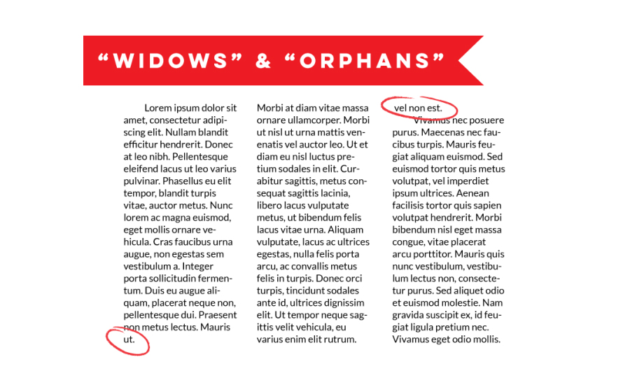 widows and orphans examples