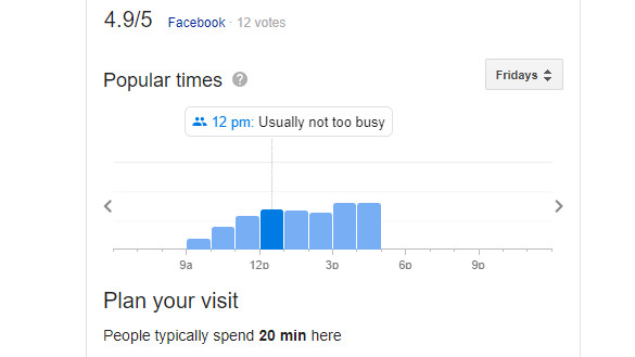 Google popular times graph