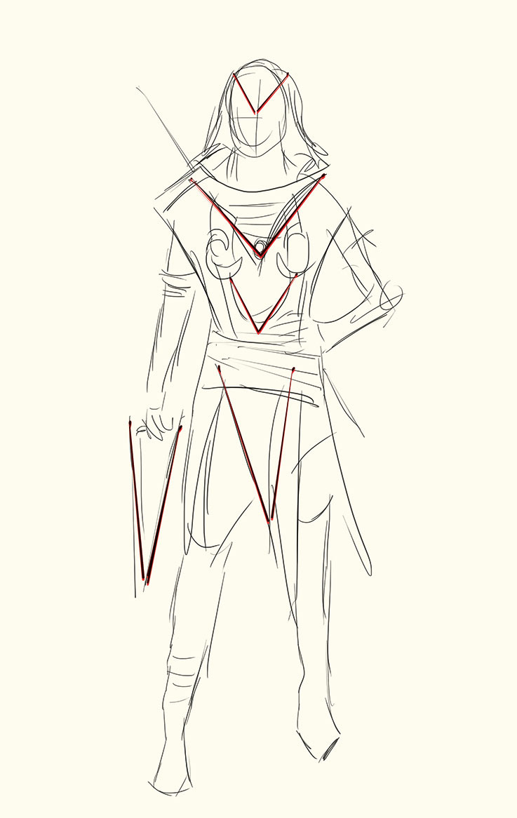 Concept sketch of clothing on figure