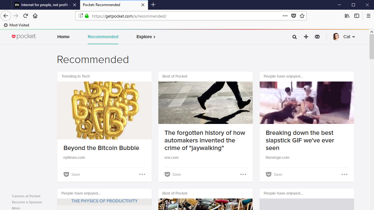 Pocket for Firefox recommendations