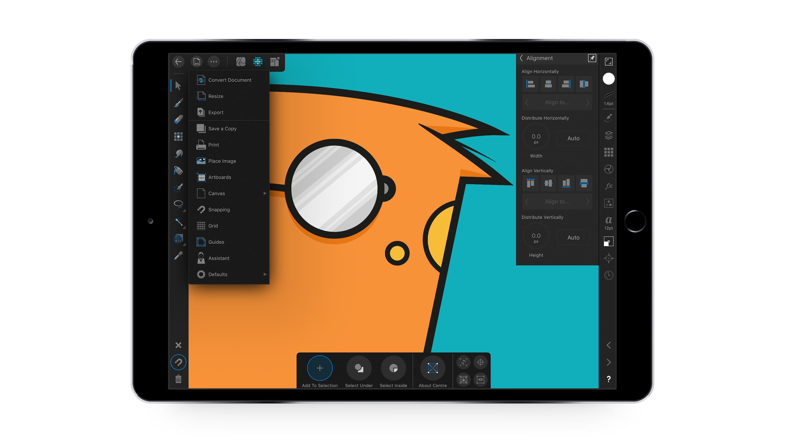 Screenshot of touch gestures within Affinity Designer for iPad