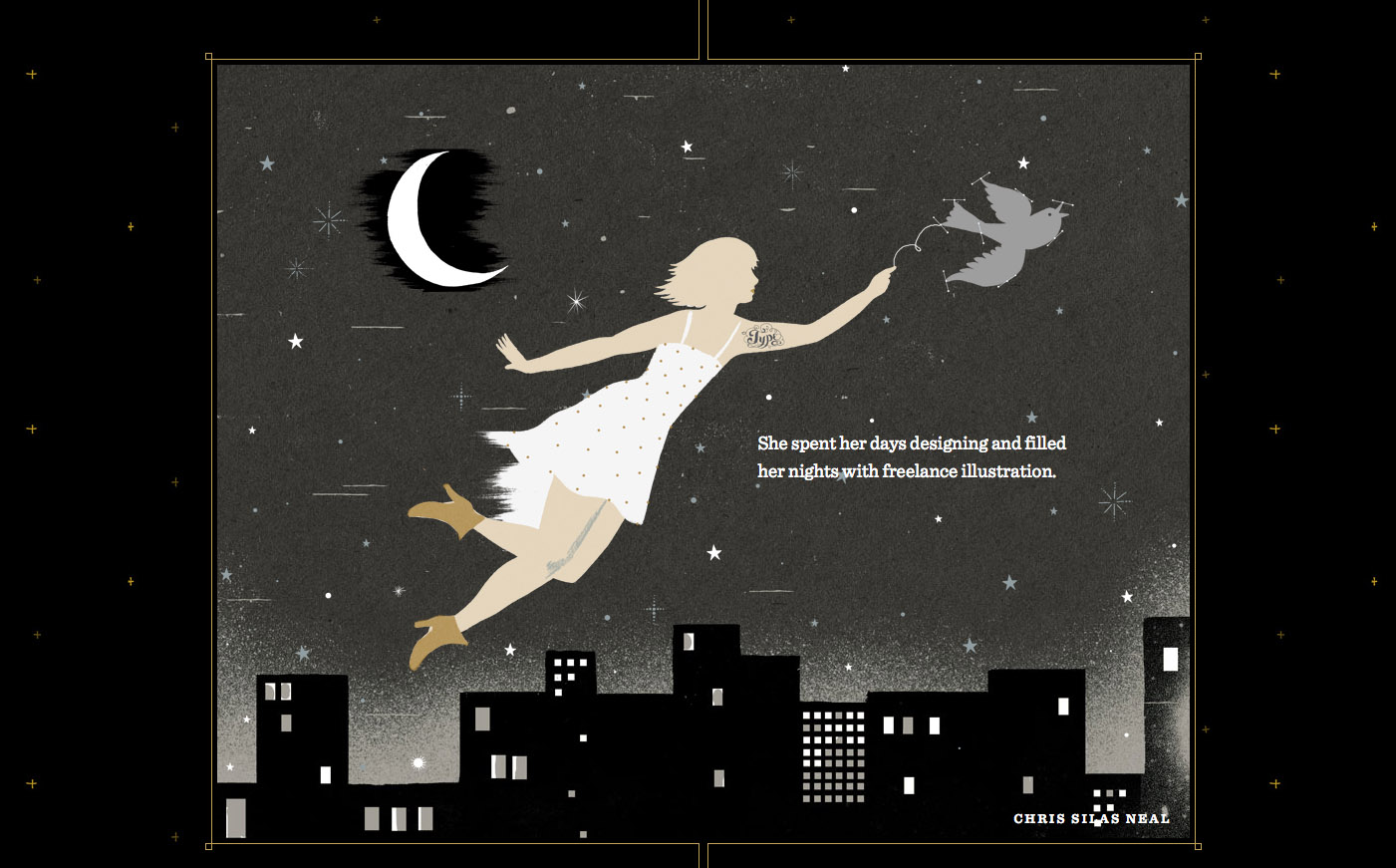 Parallax scrolling: screenshot shows an illustration of a woman in a white dress being carried by a swift over a city skyline at night