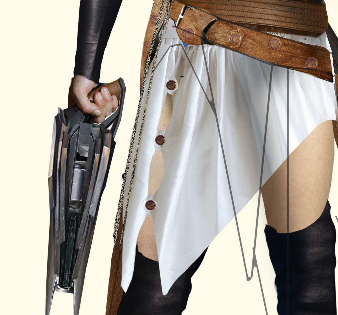 Fantasy figure holding matching gun