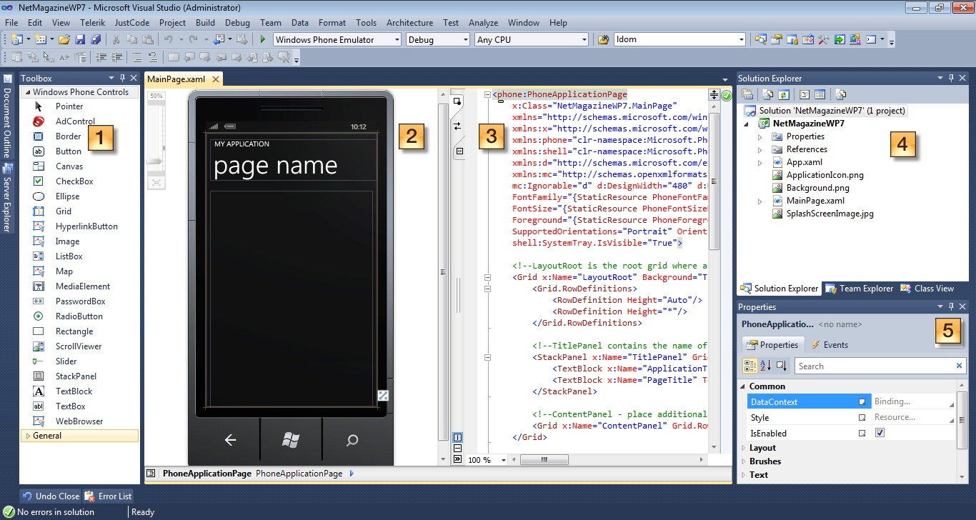 Visual Studio 2010 with a new Windows Phone 7 application loaded