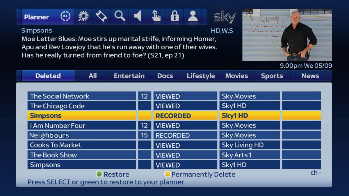Sky+ HD TV Guide Gets 'undelete' Feature
