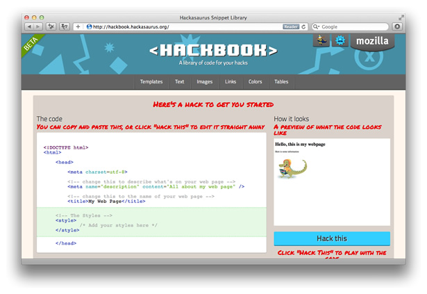 Mozilla's Hackbooks is a handy snippet library of code for your hacks