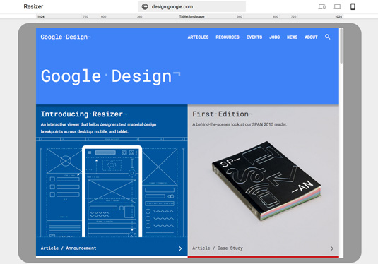 Google Resizer - tablet view