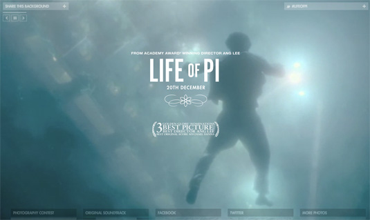Website video background: Life of PI
