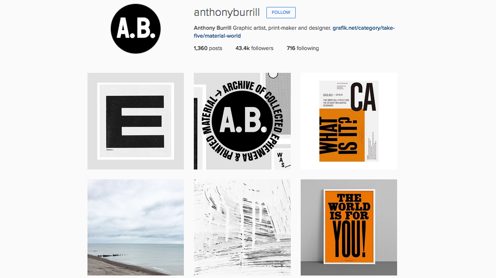 Graphic designers to follow on Instagram: Anthony Burrill