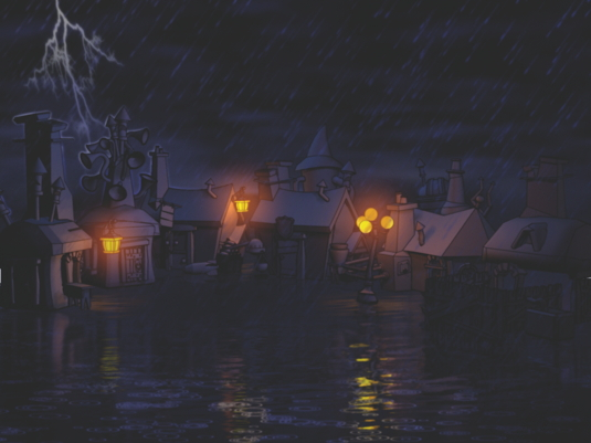 How to paint a rainy, night-time scene