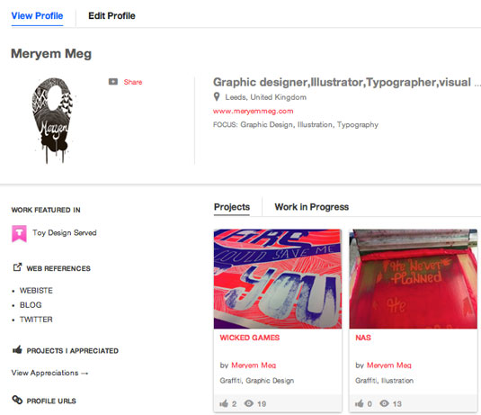 Behance profile: step 2