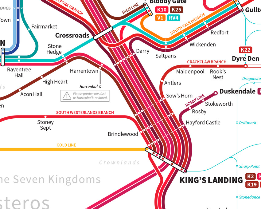 Game of Thrones tube map