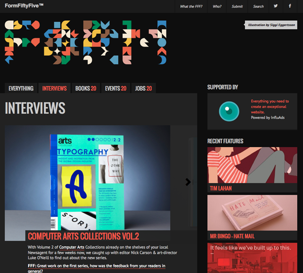 The interview section of the FormFiftyFive site - featuring Computer Arts Collection