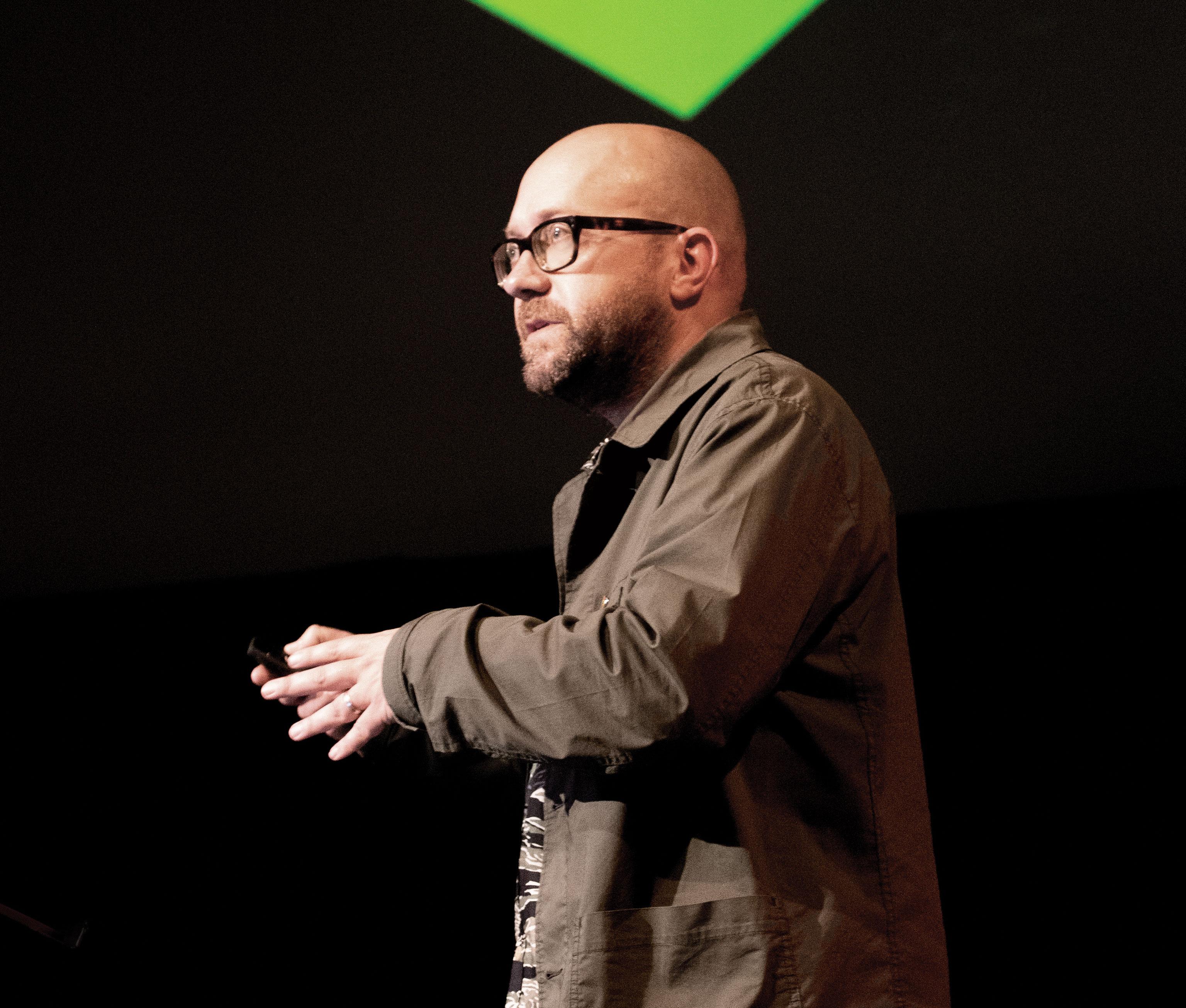 Matt Baxter speaking at a design event