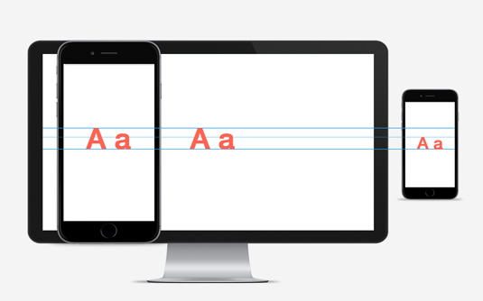 Letter a on monitor and mobile devices