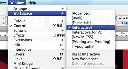 Interactive workspace menus