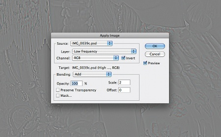 Retouch images with frequency separation: step 2