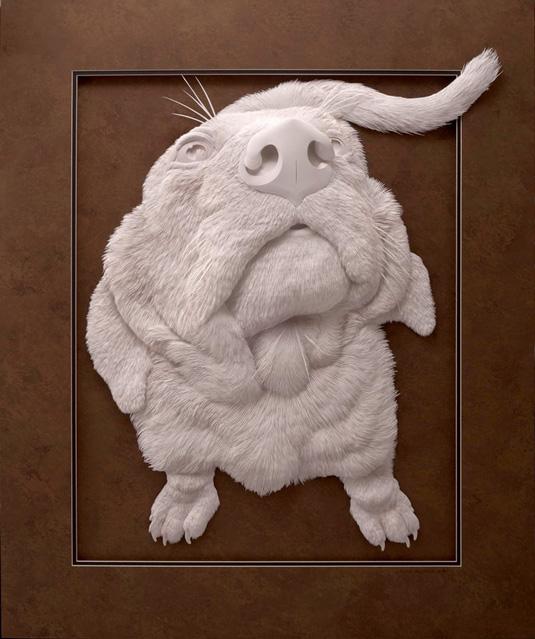 Calvin Nicholls Paper Art - Dog