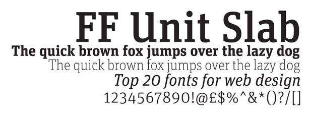 Web fonts: FF Unit Slab
