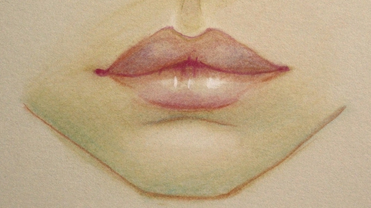 Coloured pencil drawing of lips