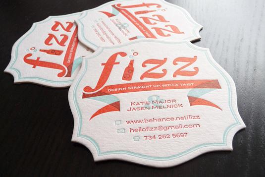 Letterpress business cards: Fizz