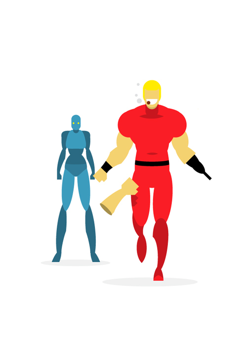 flat design superheroes