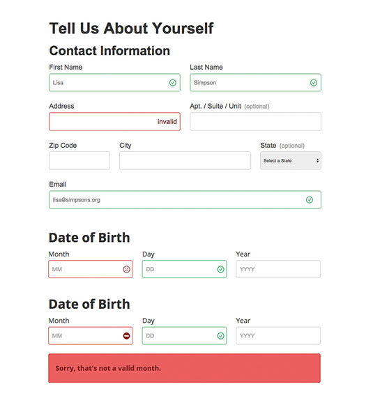For our work on the Leukemia Lymphoma Society websites, we tried a number of approaches for form validation