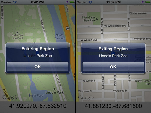 Geofencing: user enters and exits a region