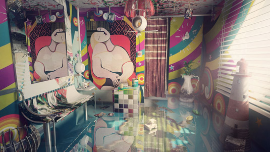 3D art: Abstract surrealism interior