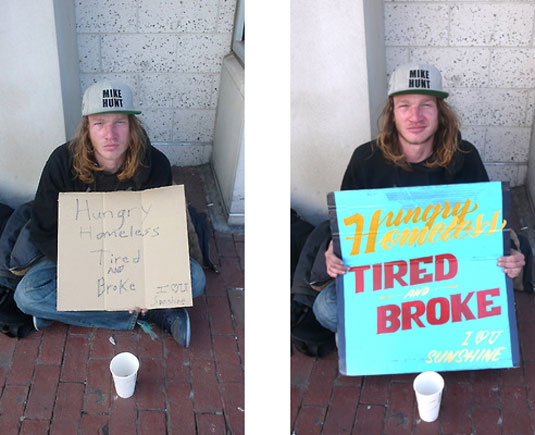 typography homeless signs