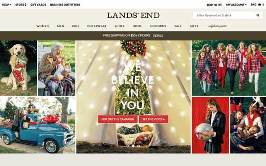 Land's End homepage