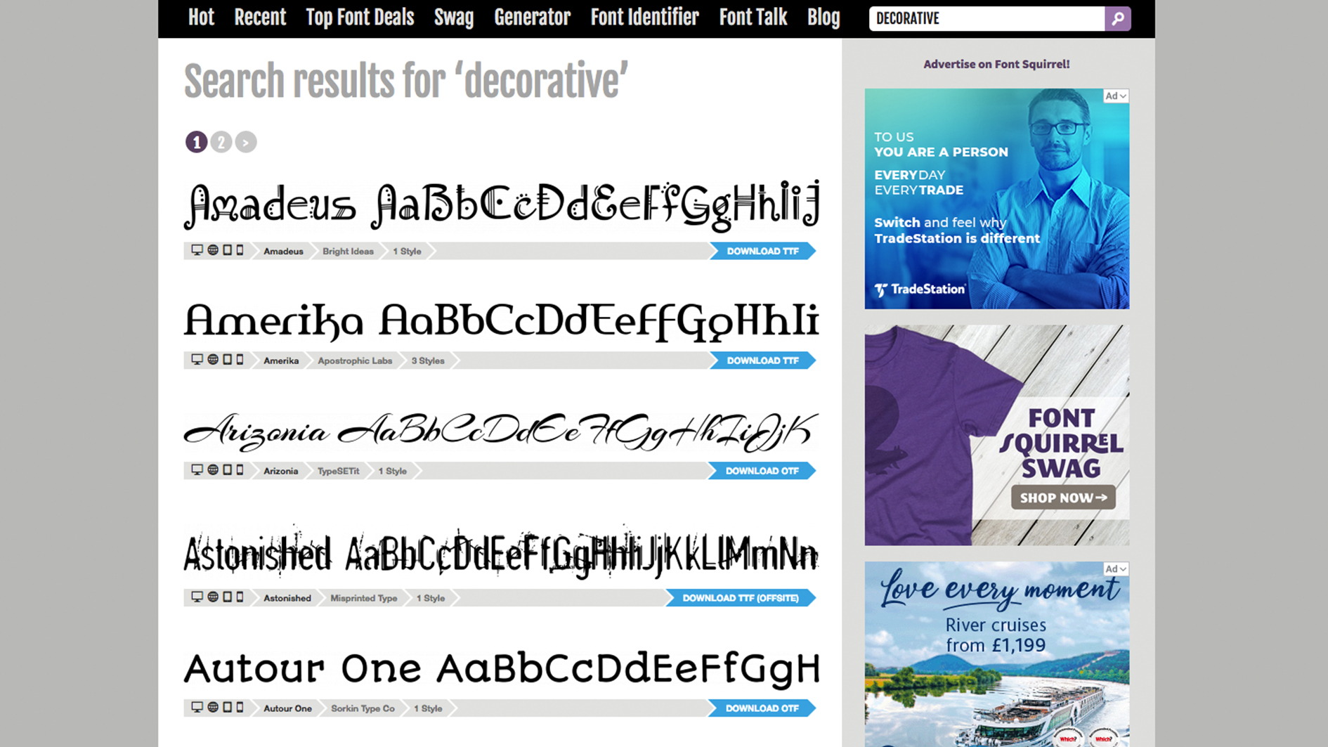 Font Squirrel page