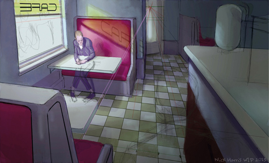 How to paint modern noir with one-point perspective