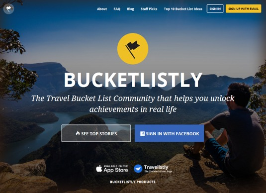 Web design inspiration: BucketListly