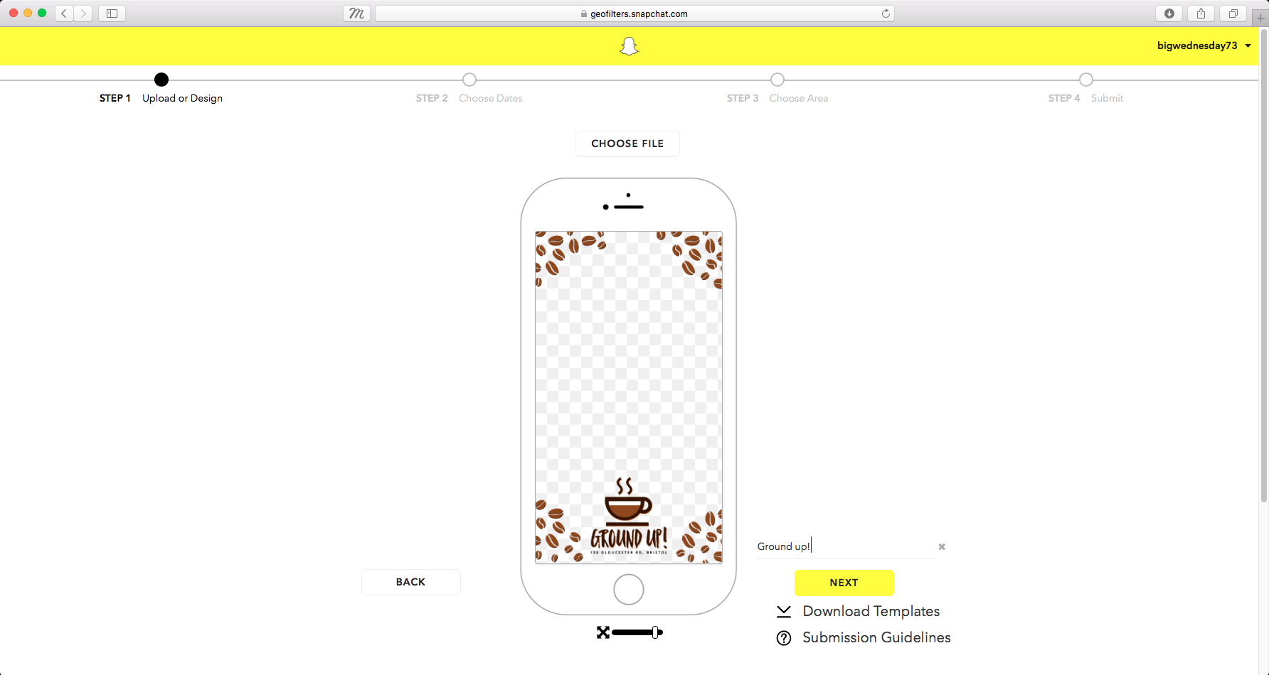 now we have our design nailed and saved in the right format its time to upload to snapchat go to wwwsnapchatcomon demand and click the create now - Snapchat Geofilter Template Free