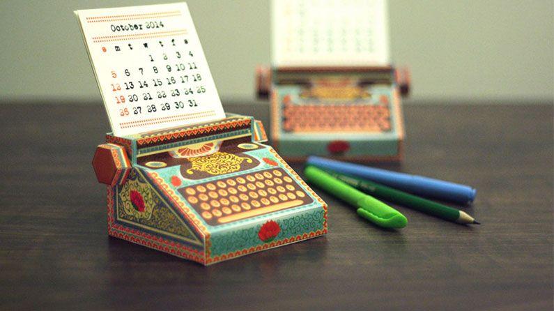 Desk Calendar Design : A printable typewriter calendar that fits in your pocket