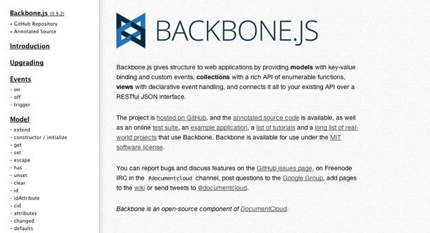 MVC framework: Backbone.js