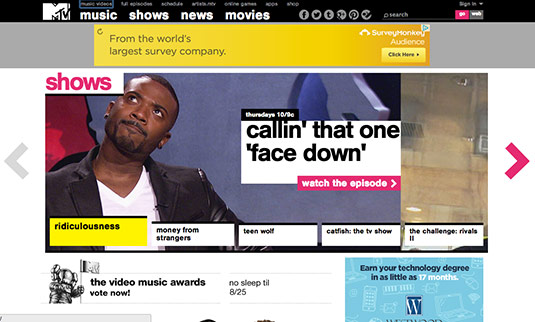 Sliders in web design: MTV