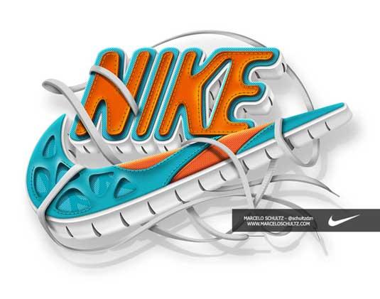 Nike logo gets a...Q Logo 3d