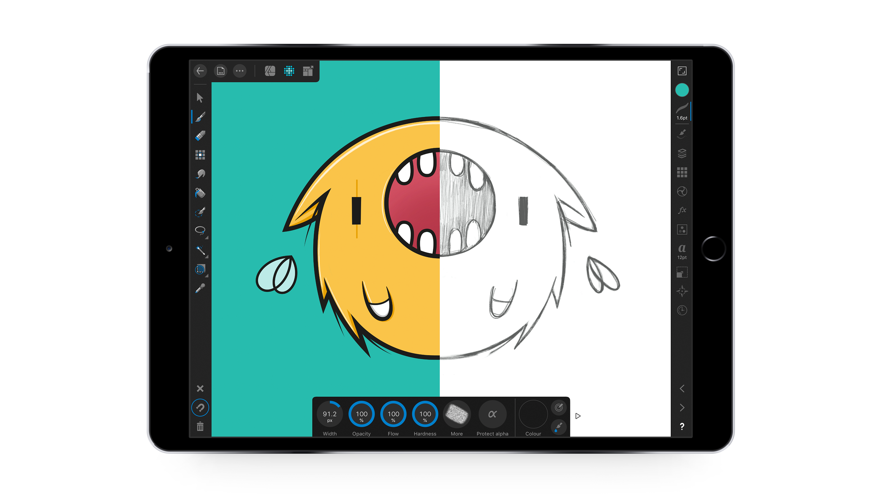 Screenshot of a character in Affinity Designer for iPad appr18