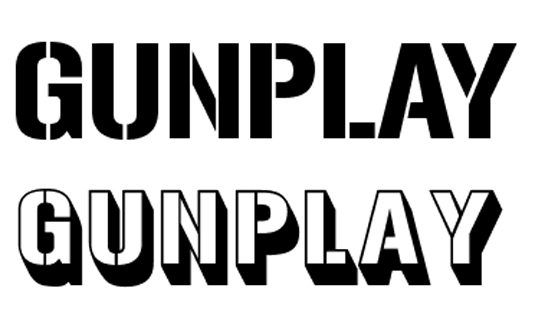free stencil font: Gunplay