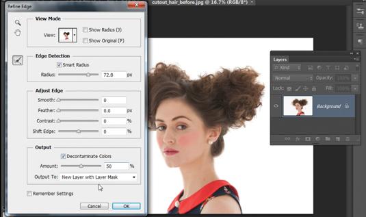 Photoshop CS6: cut out hair 2