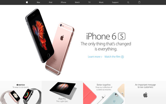 Landing page design - Apple